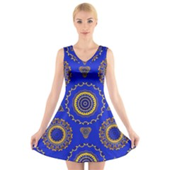 Abstract Mandala Seamless Pattern V-Neck Sleeveless Skater Dress