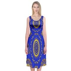 Abstract Mandala Seamless Pattern Midi Sleeveless Dress