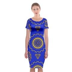 Abstract Mandala Seamless Pattern Classic Short Sleeve Midi Dress