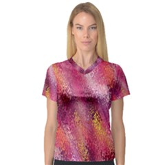 Red Seamless Abstract Background Women s V Neck Sport Mesh Tee