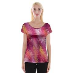 Red Seamless Abstract Background Women s Cap Sleeve Top