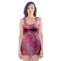Red Seamless Abstract Background Skater Dress Swimsuit