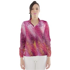 Red Seamless Abstract Background Wind Breaker (Women)