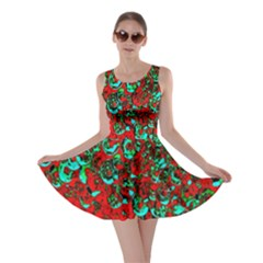 Red Turquoise Abstract Background Skater Dress