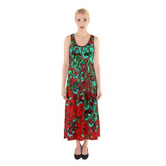 Red Turquoise Abstract Background Sleeveless Maxi Dress