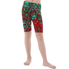 Red Turquoise Abstract Background Kids  Mid Length Swim Shorts