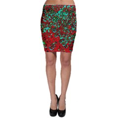 Red Turquoise Abstract Background Bodycon Skirt