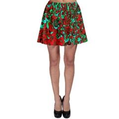 Red Turquoise Abstract Background Skater Skirt