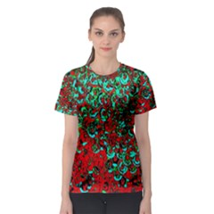 Red Turquoise Abstract Background Women s Sport Mesh Tee