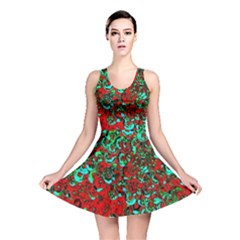 Red Turquoise Abstract Background Reversible Skater Dress