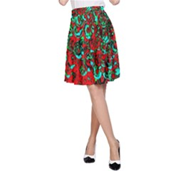 Red Turquoise Abstract Background A Line Skirt