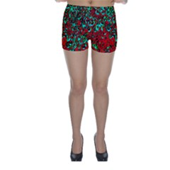 Red Turquoise Abstract Background Skinny Shorts