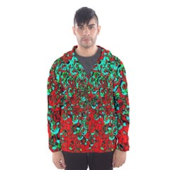 Red Turquoise Abstract Background Hooded Wind Breaker (men)