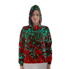 Red Turquoise Abstract Background Hooded Wind Breaker (women)