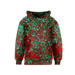 Red Turquoise Abstract Background Kids  Pullover Hoodie