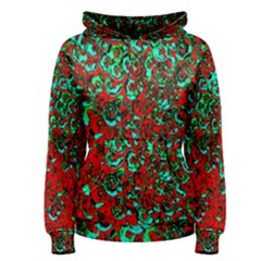 Red Turquoise Abstract Background Women s Pullover Hoodie