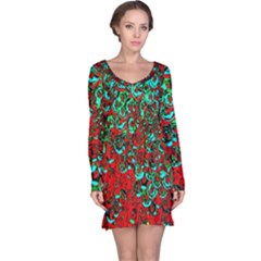 Red Turquoise Abstract Background Long Sleeve Nightdress