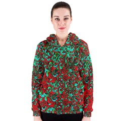 Red Turquoise Abstract Background Women s Zipper Hoodie