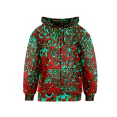 Red Turquoise Abstract Background Kids  Zipper Hoodie