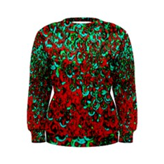 Red Turquoise Abstract Background Women s Sweatshirt