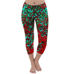 Red Turquoise Abstract Background Capri Winter Leggings