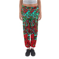 Red Turquoise Abstract Background Women s Jogger Sweatpants