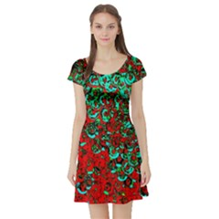 Red Turquoise Abstract Background Short Sleeve Skater Dress