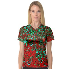 Red Turquoise Abstract Background Women s V-Neck Sport Mesh Tee