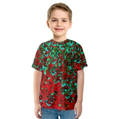Red Turquoise Abstract Background Kids  Sport Mesh Tee