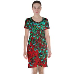 Red Turquoise Abstract Background Short Sleeve Nightdress