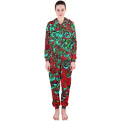 Red Turquoise Abstract Background Hooded Jumpsuit (ladies)