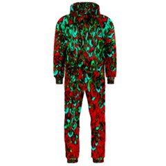 Red Turquoise Abstract Background Hooded Jumpsuit (men)