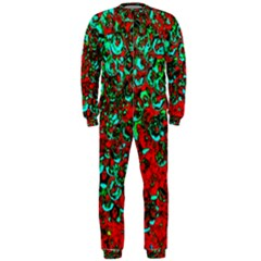 Red Turquoise Abstract Background OnePiece Jumpsuit (Men)