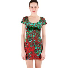 Red Turquoise Abstract Background Short Sleeve Bodycon Dress