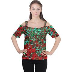 Red Turquoise Abstract Background Women s Cutout Shoulder Tee