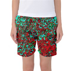 Red Turquoise Abstract Background Women s Basketball Shorts
