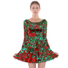 Red Turquoise Abstract Background Long Sleeve Skater Dress