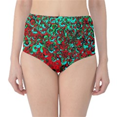 Red Turquoise Abstract Background High Waist Bikini Bottoms
