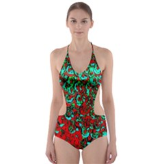 Red Turquoise Abstract Background Cut Out One Piece Swimsuit
