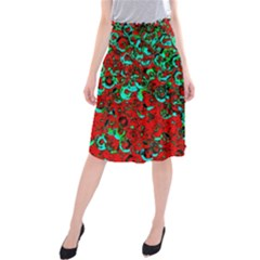 Red Turquoise Abstract Background Midi Beach Skirt