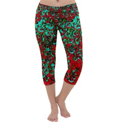 Red Turquoise Abstract Background Capri Yoga Leggings