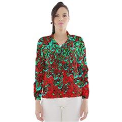 Red Turquoise Abstract Background Wind Breaker (women)