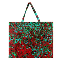 Red Turquoise Abstract Background Zipper Large Tote Bag