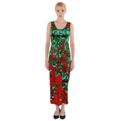 Red Turquoise Abstract Background Fitted Maxi Dress
