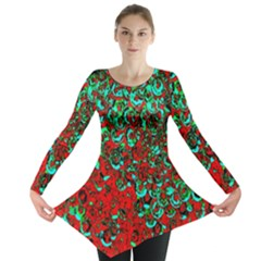 Red Turquoise Abstract Background Long Sleeve Tunic