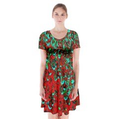 Red Turquoise Abstract Background Short Sleeve V-neck Flare Dress