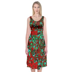 Red Turquoise Abstract Background Midi Sleeveless Dress