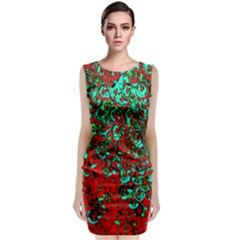 Red Turquoise Abstract Background Classic Sleeveless Midi Dress