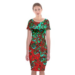 Red Turquoise Abstract Background Classic Short Sleeve Midi Dress