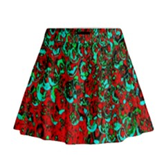Red Turquoise Abstract Background Mini Flare Skirt